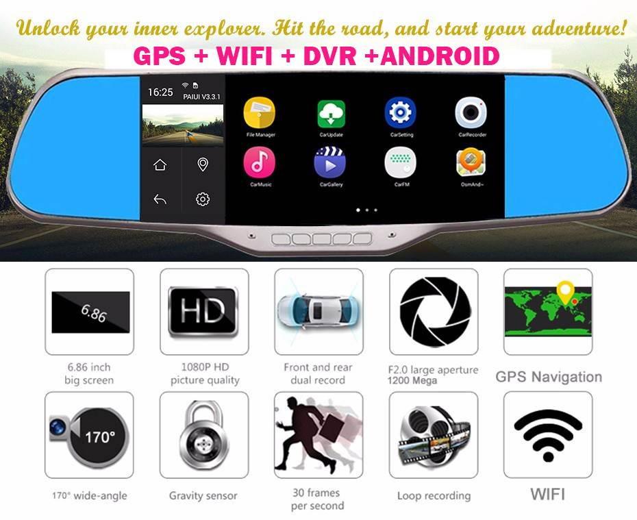 7 colių DAUGIAFUNKCINIS ĮRENGINYS su GPS navigacija, vaizdo registratoriumi, galine vaizdo kamera, TV, Internetu