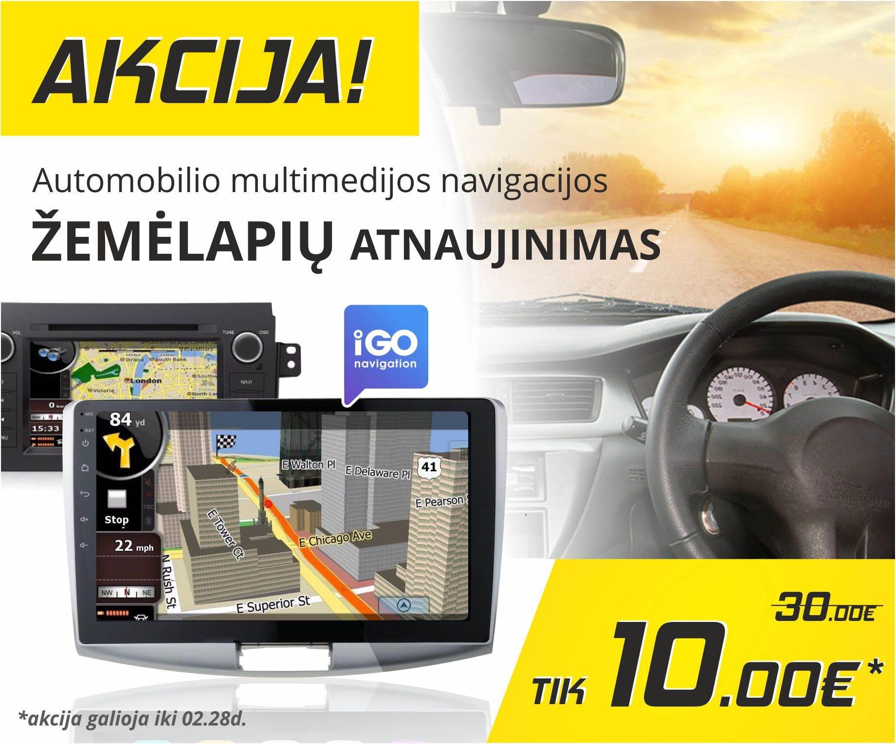 Akcija automobilio multimedijos navigacijos žemėlapių atnaujinimui