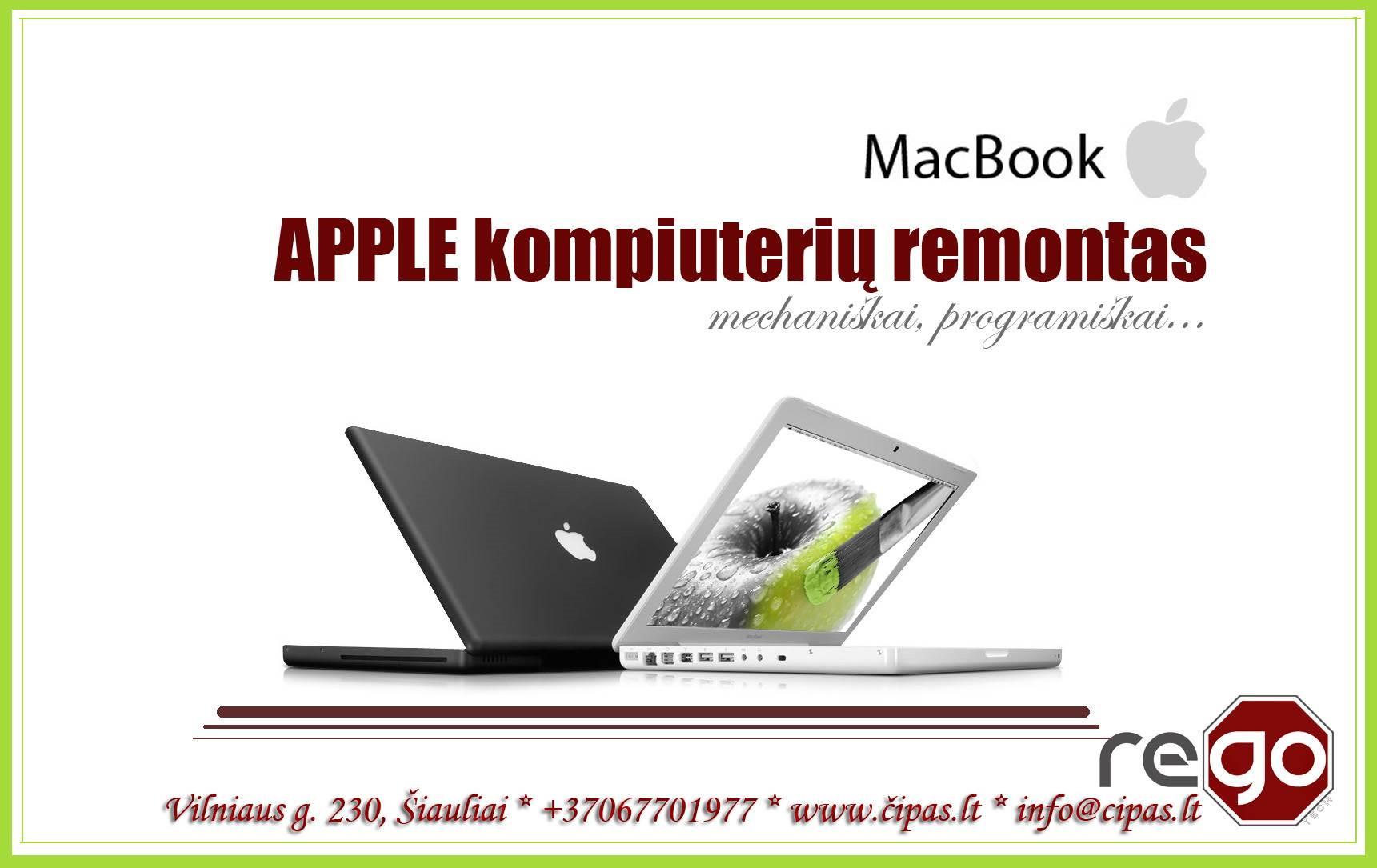 APPLE nešiojamų, stacionarių kompiuterių, telefonų, planšetų REMONTAS