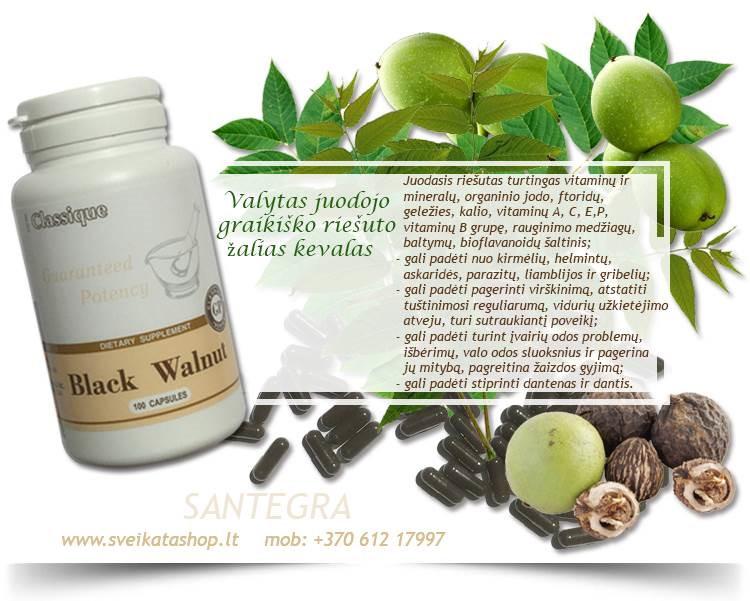 Black Walnut 100 kaps, juodasis riešutas – maisto papildas Santegra JAV – PIGIAU