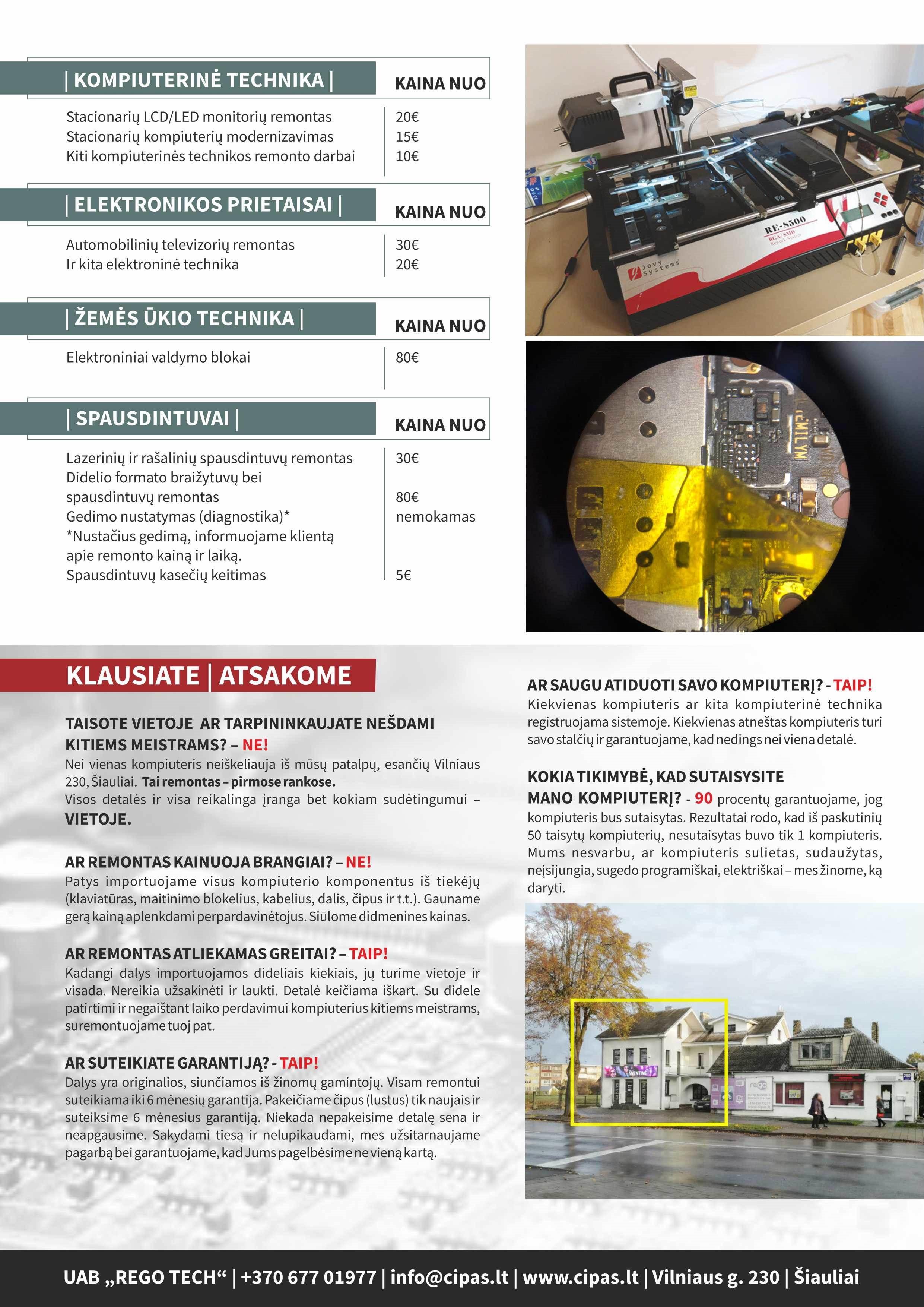 ELEKTRONIKOS REMONTAS visoje Lietuvoje . Paslaugos ir kaina
