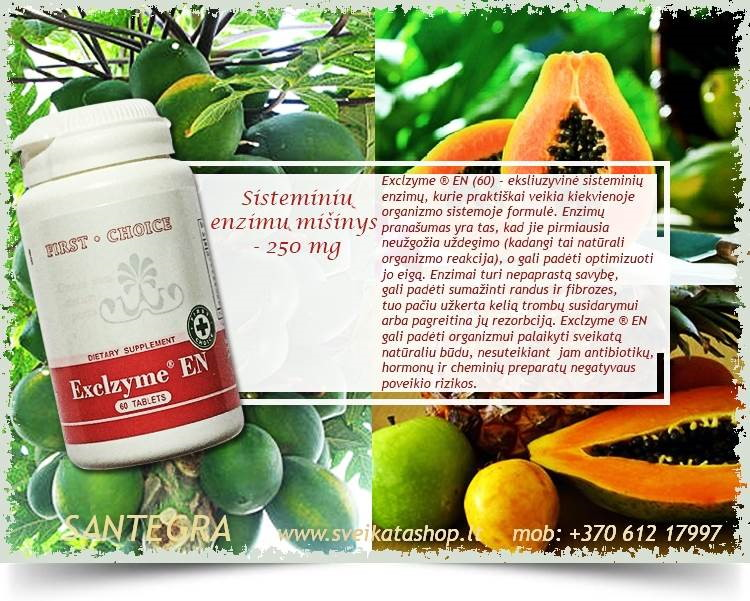 Exclzyme EN 60 tabl, sisteminiai enzimai – maisto papildas Santegra JAV – PIGIAU