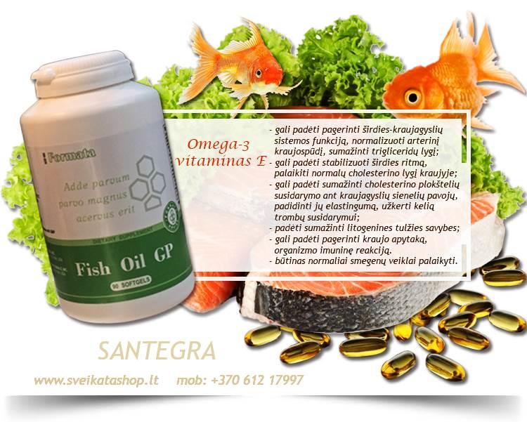 Fish Oil GP 90 kaps, Omega-3 – maisto papildas Santegra JAV – PIGIAU