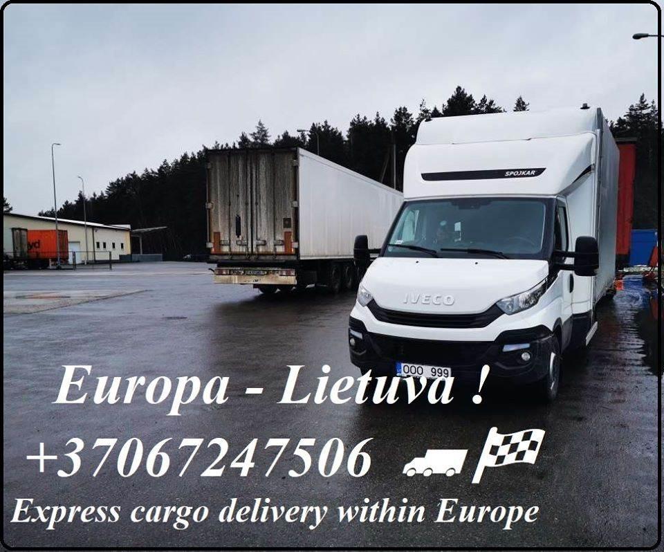 Galimas EKSPRESS krovinių pervežimas. Perkraustome mažas ir stambias įmones bei fizinius asmenis.  Gabename krovinius, siuntinius, keturačius, motocik