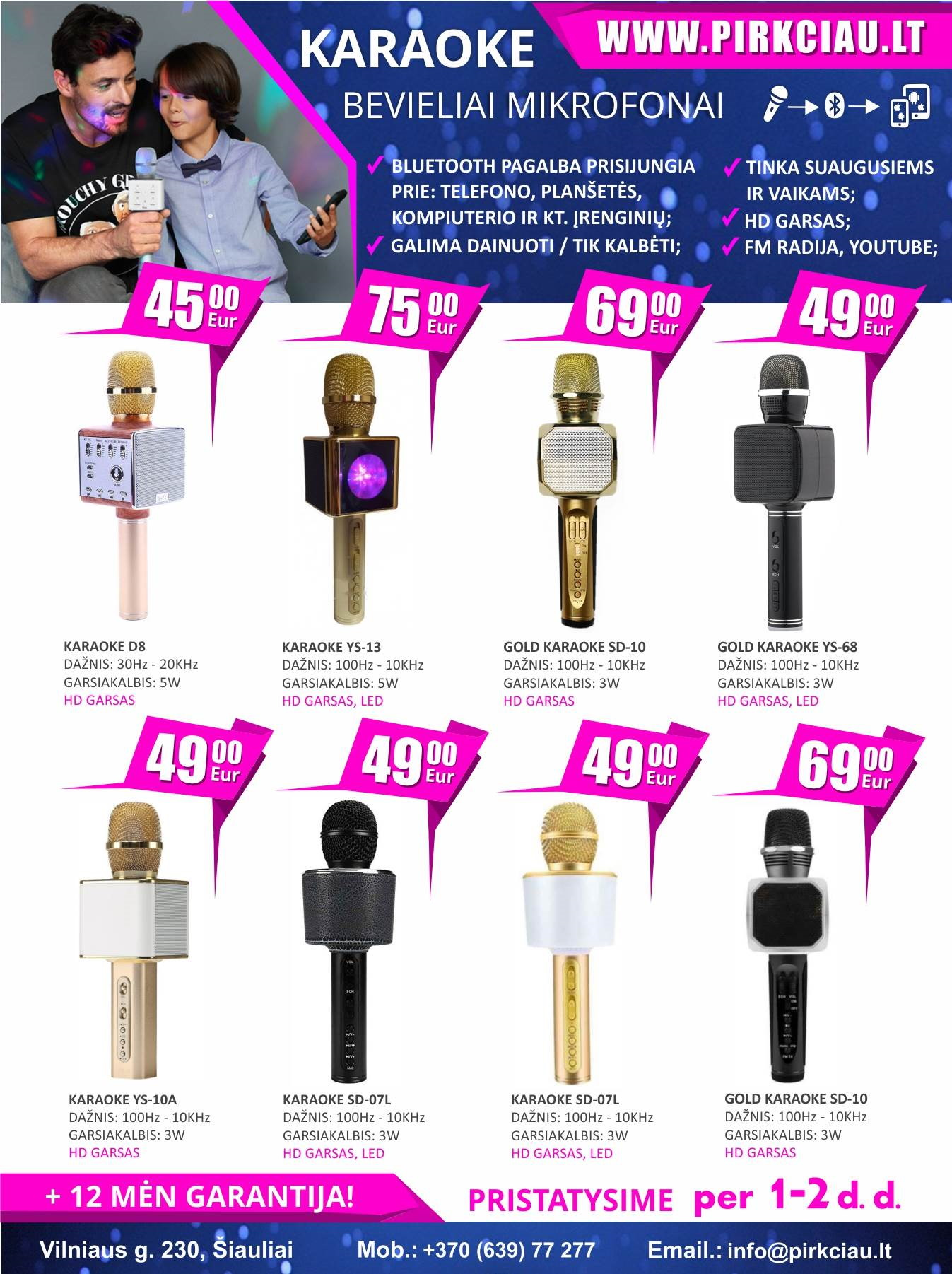 Karaoke bevieliai mikrofonai + akcija