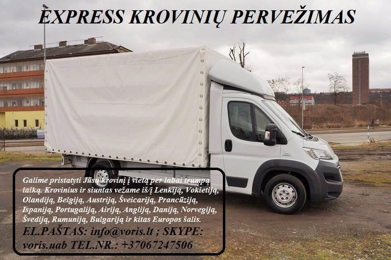 Kroviniai / Siuntos / Perkraustymas ! PAKRUOJIS Skubių (express) krovinių pervežimai / gabenimai. Siuntų pervežimas. ( Lietuva / Vokietija / Italija /