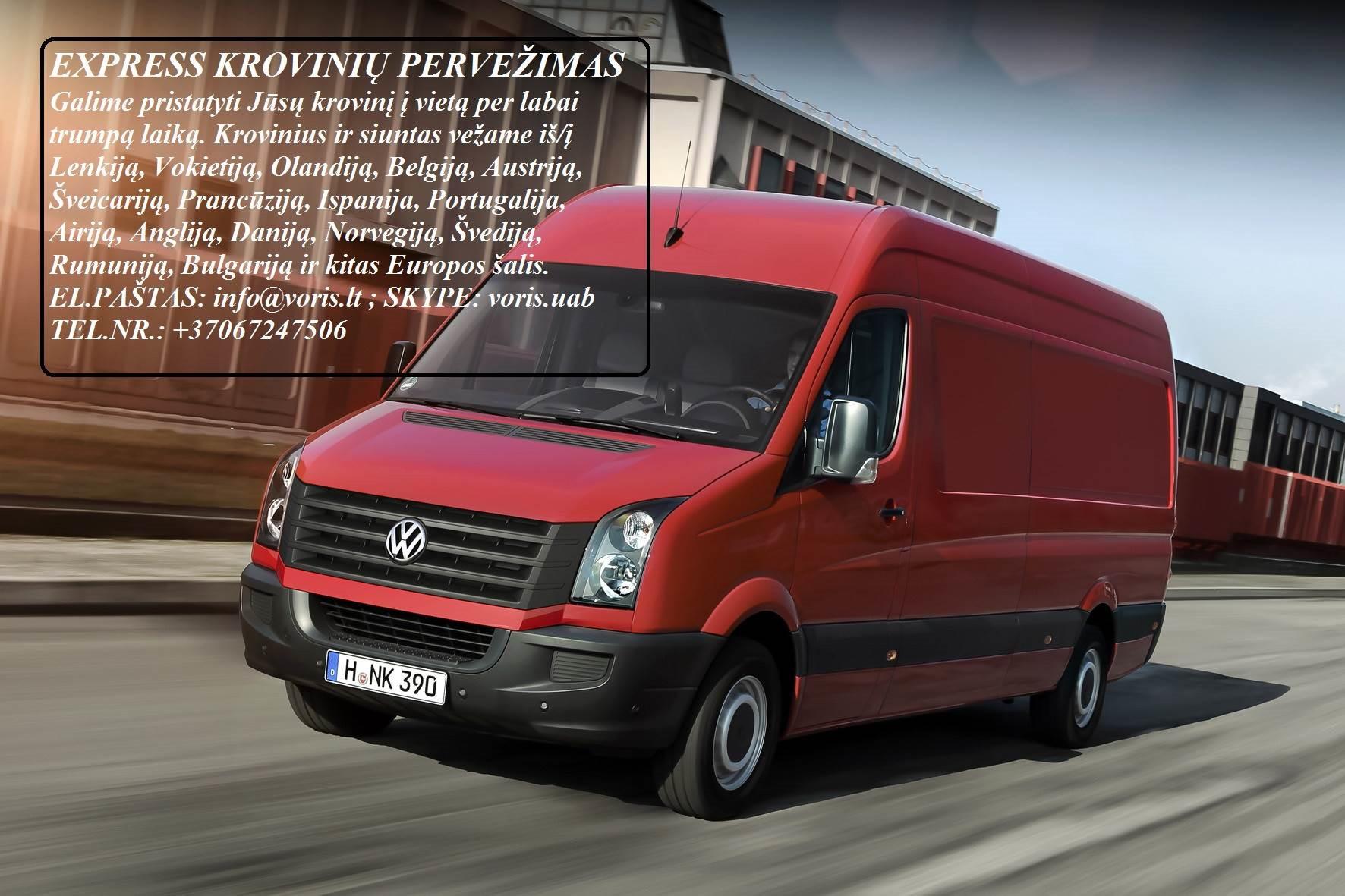 Kroviniai / Siuntos / Perkraustymas ! ŠAKIAI Skubių (express) krovinių pervežimai / gabenimai. Siuntų pervežimas. ( Lietuva / Vokietija / Italija / Au