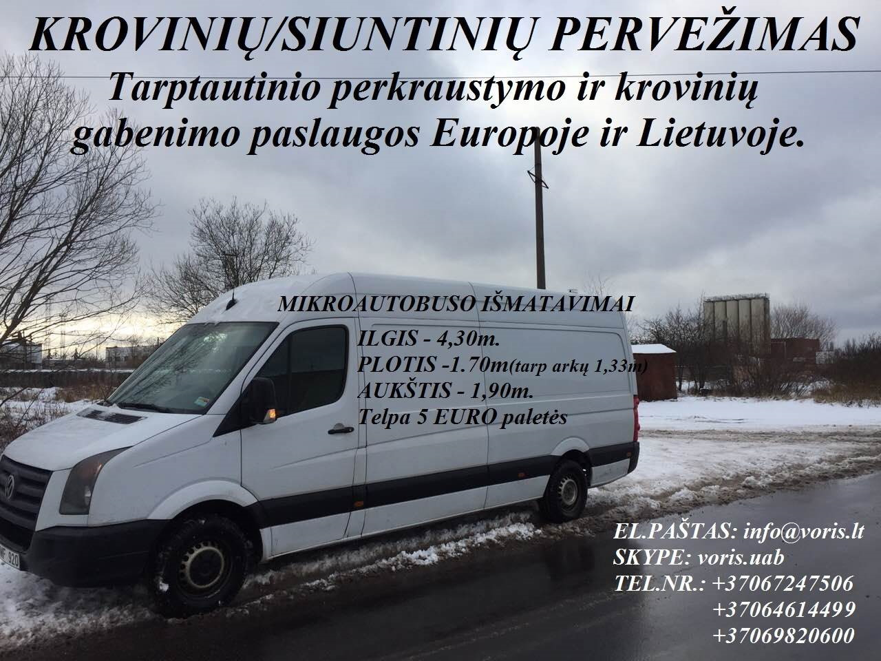 Kroviniai / Siuntos / Perkraustymas ! VILNIAUS RAJONAS Skubių (express) krovinių pervežimai / gabenimai. Siuntų pervežimas. ( Lietuva / Vokietija / It