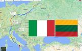 KROVINIU PERVEZIMAS LIETUVA -- ITALIJA -- LIETUVA IŠ ITALIJOS 8D./9D./10D. -- IŠ PIETŲ ITALIJOS