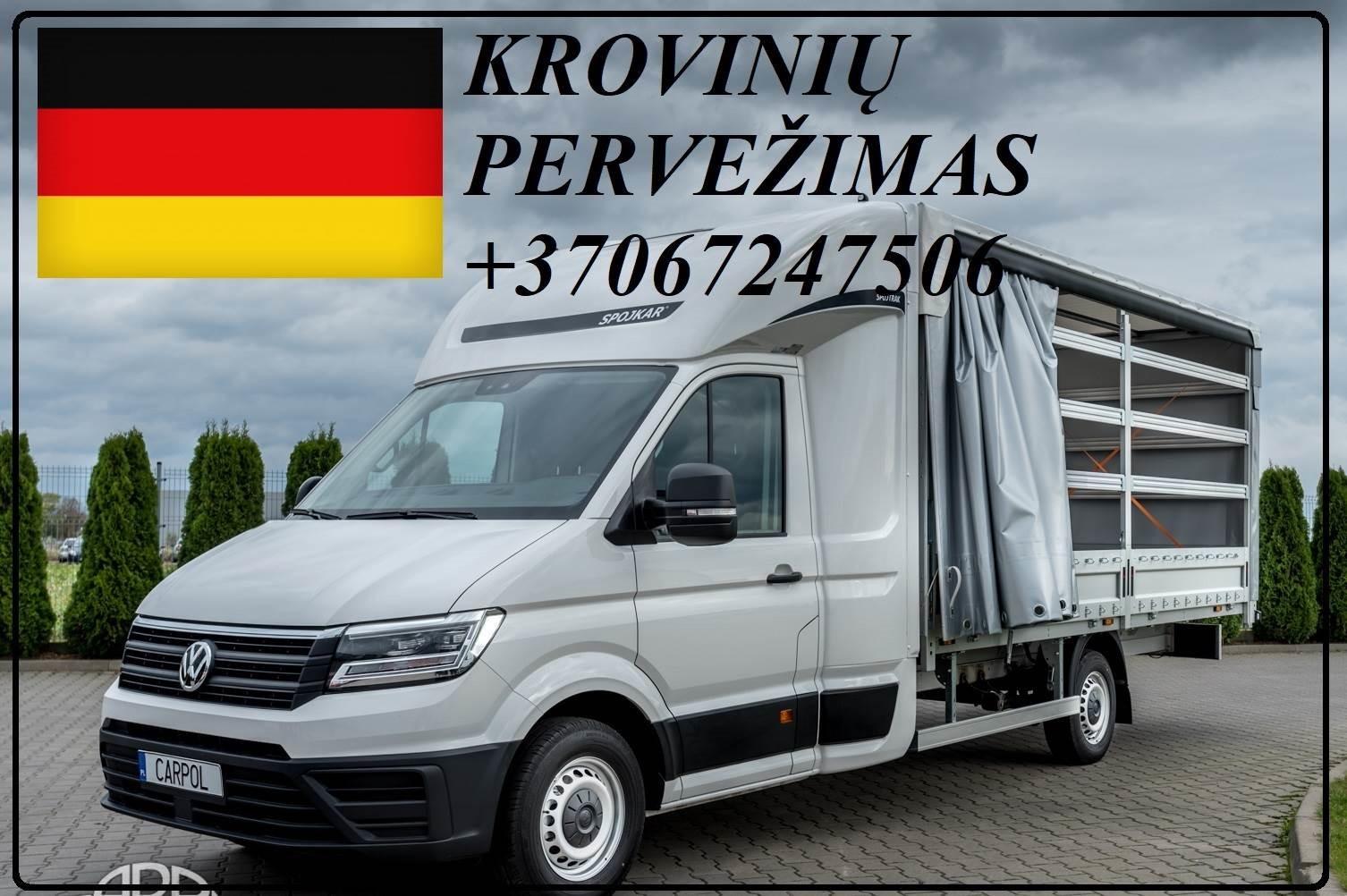 Krovinių Pervežimas tentiniu mikroautobusiuku Lietuva – Vokietija – Lietuva  ! Telpa 8 euro paletės iki 1200kg. Vežame krovinius, siuntas, baldus, įre