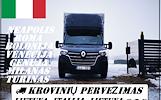 Lietuva -- Italija -- Lietuva ( IT )  Galime parvežti jūsų krovinius, baldus, buitine technika, motociklus, kubilus, pirtis, įrengimus, medžiagas