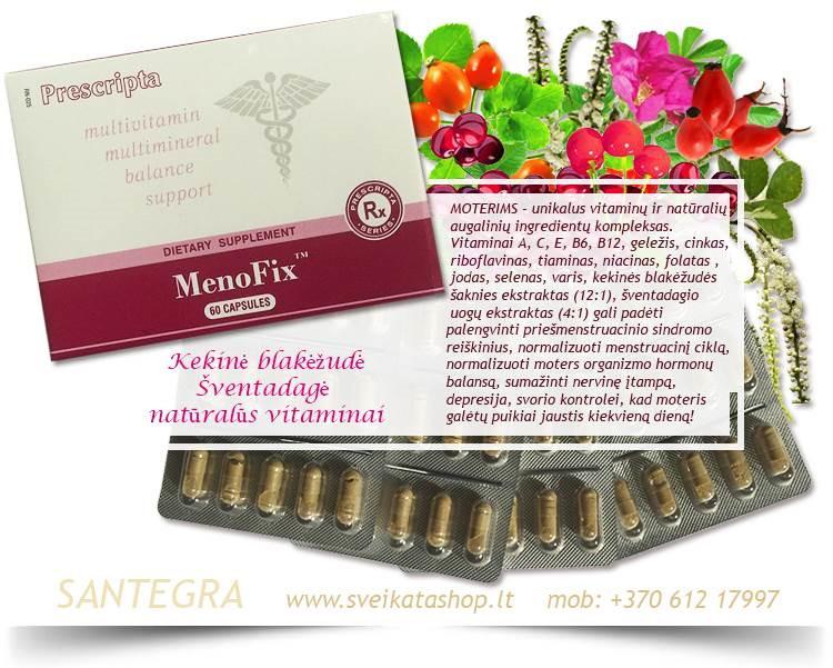 MOTERIMS – MenoFix™ 60 kaps, maisto papildas Santegra JAV – PIGIAU