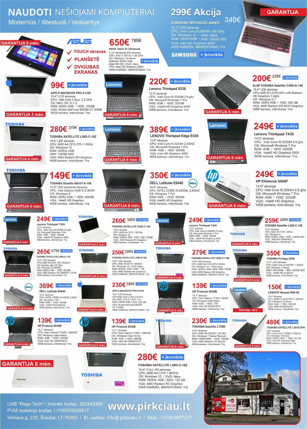 Naudoti Nešiojami Kompiuteriai Nuo 99 Eurų!