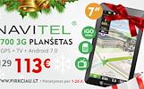 """NAVITEL T700 3G + Navigacija IGO / NAVITEL+TELEVIZIJA Android OS, 7"""" ekranas + visi GPS priedai"""