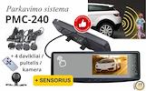 Parkavimo sistema galinio vaizdo veidrodėlyje PMC-240+ 4 davkikliai + kamera