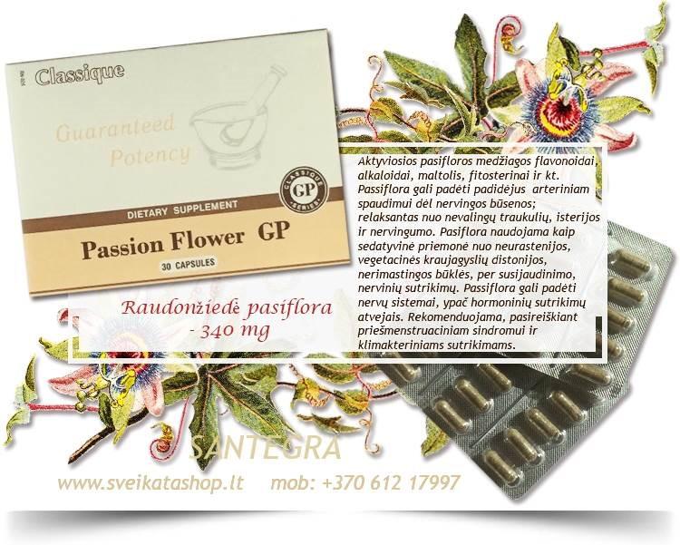 Passion Flower GP 30 kaps, rausvoji pasiflora – maisto papildas Santegra JAV – PIGIAU