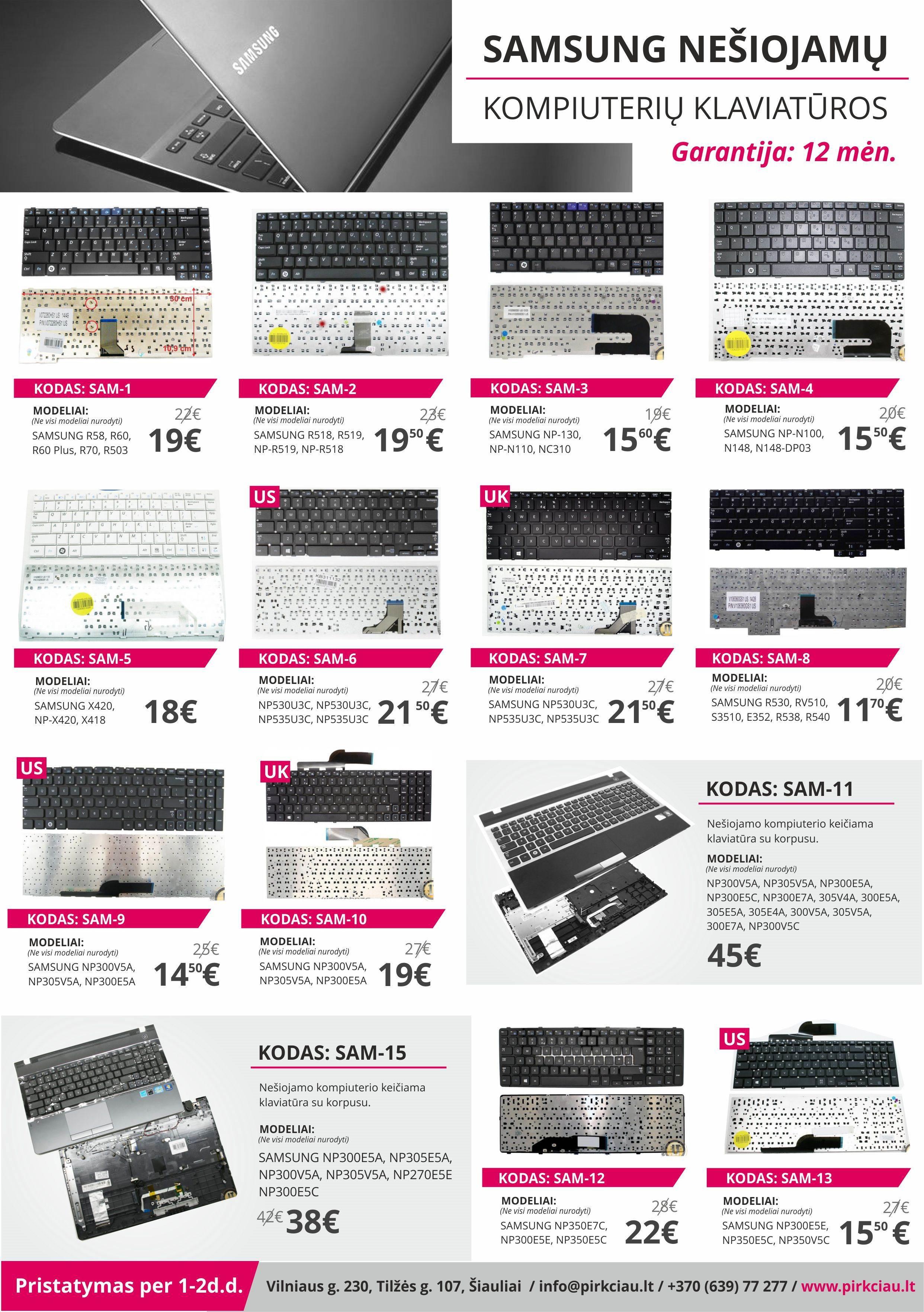 PIGIAUSIOS SAMSUNG nešiojamų kompiuterių klaviatūros, keitimas, remontas, Šiauliai