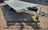 PLATFORMOS NUOMA ! PLATFORMOS MATMENYS: ILGIS 5.m PLOTIS 2.10m. Keliamoji galia 2200kg ( Patogu vežti lentas, kubilus, metalo gaminius, traktoriukus,