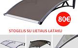 Polikarbonato stogelis su lataku virš lauko durų - 80 eur