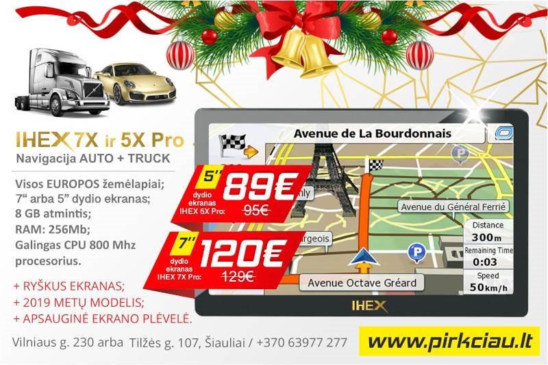 Puiki DOVANA IHEX-7X PRO ir 5X PRO NAVIGACIJA automobiliams ir sunkvežimiams