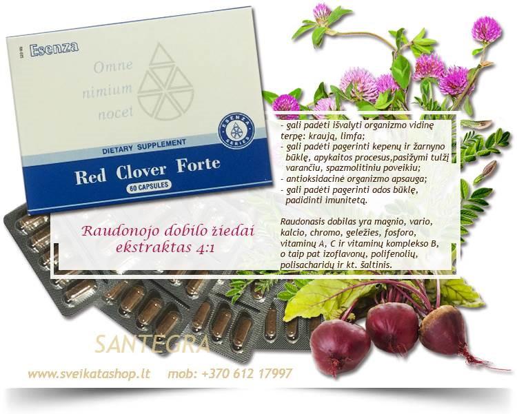 Red Clover Forte 60 kaps, raudonasis dobilas – maisto papildai Santegra JAV – PIGIAU