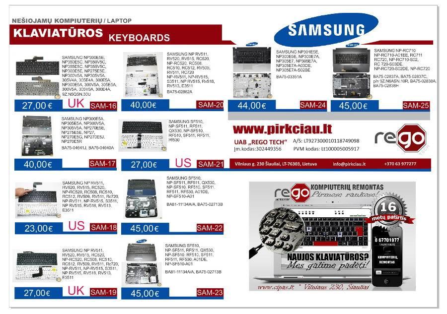 SAMSUNG nešiojamų kompiuterių klaviatūros, keitimas, remontas