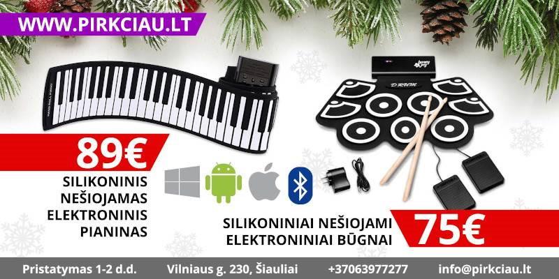 Silikoninis nešiojamas elektroninis pianinas arba būgnai, PUIKI DOVANA