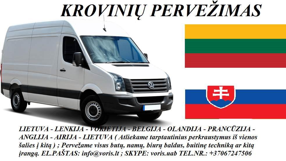 Skubių krovinių/siuntų gabenimas transportu į/iš Slovakijos/ Slovakiją.