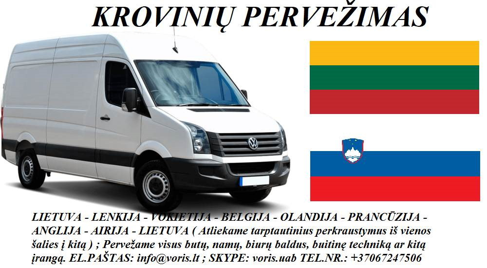 Skubių krovinių/siuntų gabenimas transportu į/iš Slovėnijos/ Slovėniją.