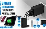 SMART telefonų, planšetų tinklo įkrovikliai pakrovėjai su daug USB jungčių!