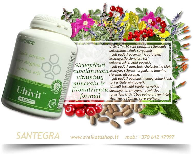 Ultivit™ 90 tabl, vitaminai ir mineralai – maisto papildas Santegra JAV – PIGIAU