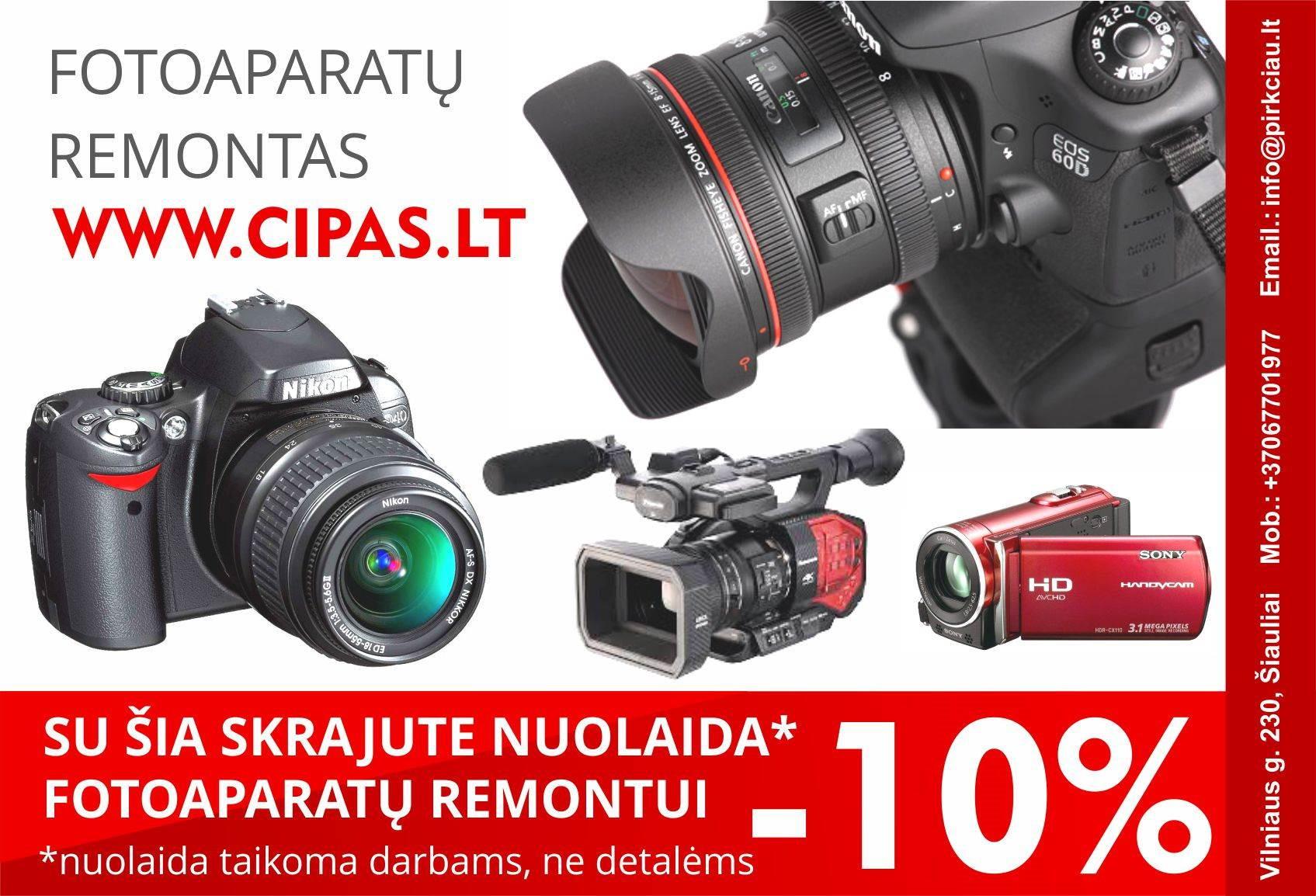 VISŲ fotoaparatų / vaizdo kamerų REMONTAS