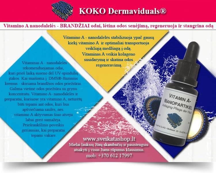 Vitamino A nanodalelės 20 ml, kosmetika dermaviduals Vokietija - PIGIAU