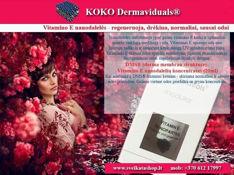 Vitamino E nanodalelės 20 ml, kosmetika dermaviduals Vokietija