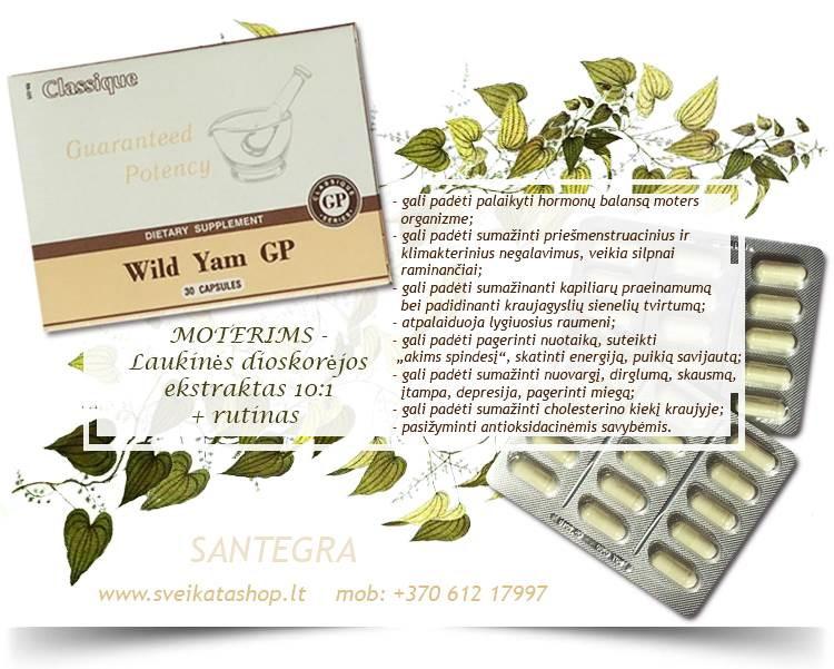 Wild Yam GP 30 kaps, dioskorėja MOTERIMS – maisto papildas Santegra JAV – PIGIAU